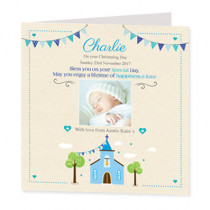 Blue Church With Photo Upload - Luxury Greeting Card