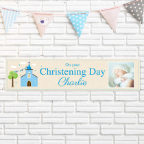 Blue Church With Photo Upload - Personalised Banner