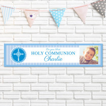 Blue Communion With Photo Upload - Personalised Banner