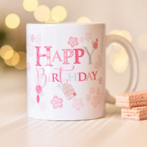 Personalised Blush Boutique Happy Birthday Flowers Mug