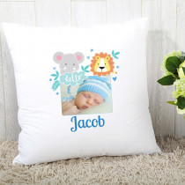 Personalised Blue Jungle Photo Cushion