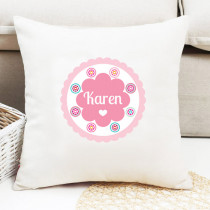 Personalised Bright Pink Floral Pattern Cushion