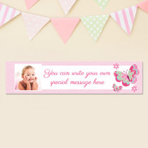 Personalised Pretty Pink Butterfly Photo Banner