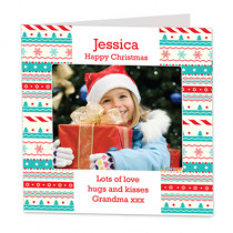 Christmas Festive Stripe Design with Photo Upload - Luxury Greeting Card
