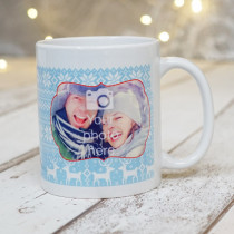 Christmas Jumper Pattern with Photo Upload - Mug