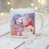 Christmas Red Text with two Photo Uploads - Mug