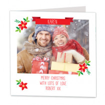 Christmas Pointsettia With Banner - Luxury Greeting Card