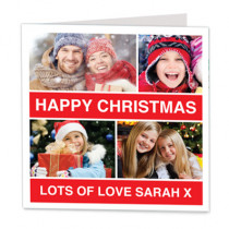 Christmas Red Four Photo Uploads - Luxury Greeting Card