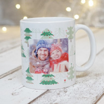Christmas Tree Pattern with Photo Upload - Mug