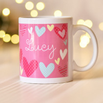Colourful Hearts An Pink Background Mug