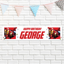 Official Personalised Marvel Avengers Iron Man Birthay Banner