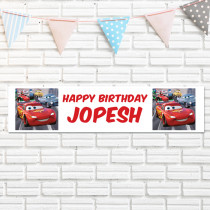 Official Personalised Disney Pixar Cars Lightening McQueen Birthday Banner