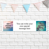 Easy Two Photos And Text - Personalised Banner