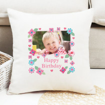 Personalised Fabrique Happy Birthday Photo Cushion