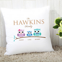 Personalised Family Owls One Boy Cushion