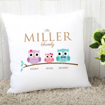 Personalised Family Owls One Girl Cushion