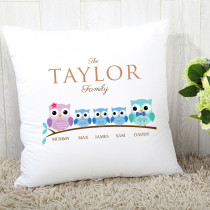 Personalised Family Owls Three Boys Cushion