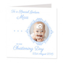Blue Delicate Frame with Photo Upload - Luxury Greeting Card