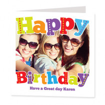 Funky Happy Birthday with Photo Upload - Luxury Greeting Card