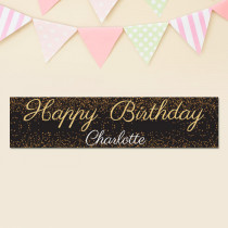 Personalised Gold Glitter Banner