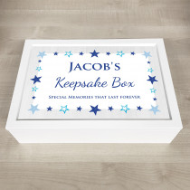 Personalised Keepsake Memory Box Pink Star Design