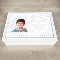 Personalised Photo Keepsake Box Blue Heart Theme