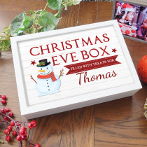 Personalised Christmas Eve Box  Snowman Design white wood