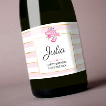 Personalised Pink And Gold Stripes Label