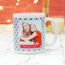 Personalised Little Red Flowers Pattern Photo Mug