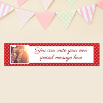 Love Heart Pattern With Photo Upload - Personalised Banner