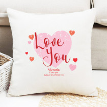 Love You Heart Design - Personalised Cushion