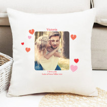 Personalised Love You Hearts Photo Cushion