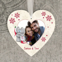 Christmas Love Teds Photo Upload - Hanging Heart