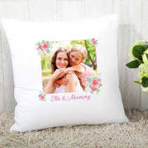 Personalised Pink And Teal Rose Pattern Photo Cushion