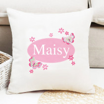 Personalised Pretty Pink Butterfly Cushion