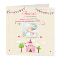 Pink Church With Photo Upload - Luxury Greeting Card