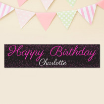 Personalised Pink Glitter Banner
