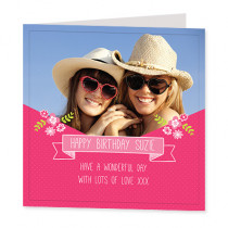 Pretty Pink Banner with Photo Upload - Luxury Greeting Card