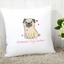 Personalised Pink Pug Cushion