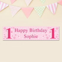 Personalised Pink Star Any Age Banner