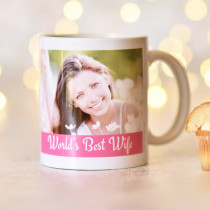 Pink Strip with White Text and Photo Upload - Mug