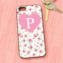Rose Pattern Initial - iPhone 5 Case