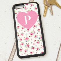 Rose Pattern Initial - iPhone 6 Case