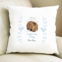 Personalised Sentimental Spoiled Rotten Dog Photo Cushion