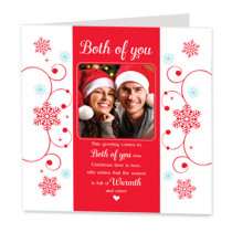Sentiments Christmas Both Of You Warmth with Photo Upload - Luxury Greeting Card