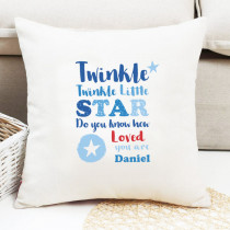 Personalised Blue Twinkle Twinkle Cushion