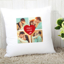 Personalised Heart Four Photo Cushion
