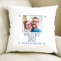 Fathers Day Personalised Blue World's Best Photo Cushion