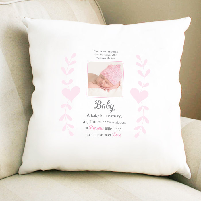 Sentimental A Baby Is A Blessing Girl Cushion